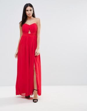 Little Mistress Платье-бандо макси с вырезом. Цвет: красный