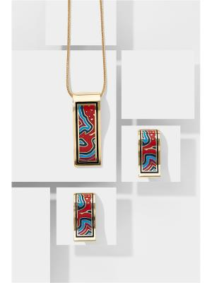 Набор украшений Мгновение Вечности: цепочка с кулоном и серьги Nothing but Love. Цвет: золотистый, голубой, красный