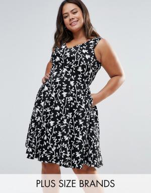 Closet Plus Короткое приталенное платье с цветочным принтом. Цвет: черный