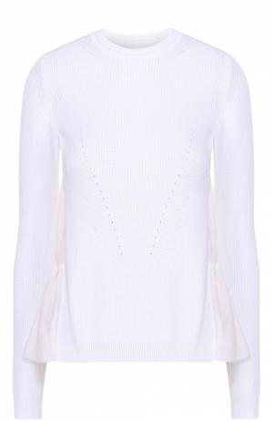 Пуловер свободного кроя с шелковой спинкой No. 21. Цвет: белый