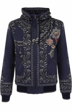 Кардиган на молнии с принтом и капюшоном Dolce & Gabbana. Цвет: синий