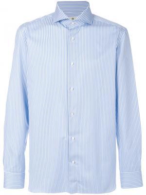 Рубашка с длинными рукавами в полоску Luigi Borrelli. Цвет: синий