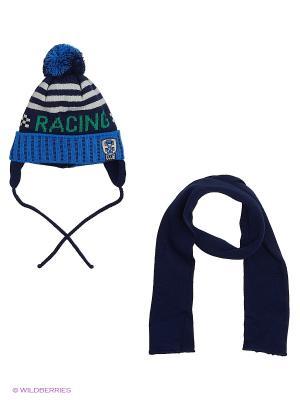 Шапка и шарф Grans. Цвет: темно-синий