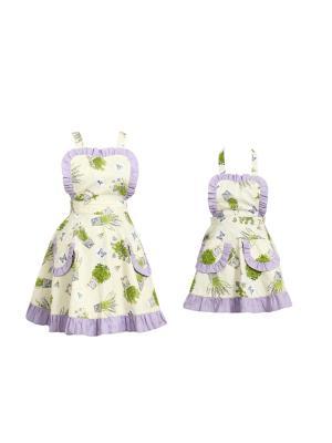 Набор из 2 фартуков с рюшей мама и дочка Fresca Design. Цвет: зеленый, молочный, сиреневый
