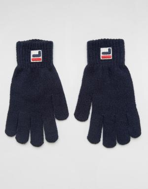Fila Темно-синие перчатки с логотипом. Цвет: темно-синий