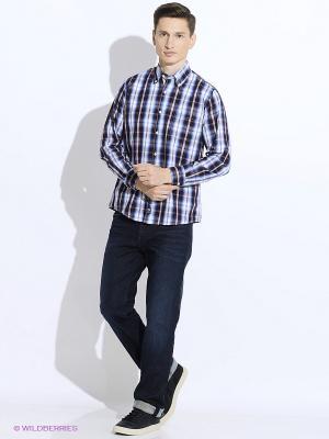 Рубашка Westrenger. Цвет: голубой, коричневый
