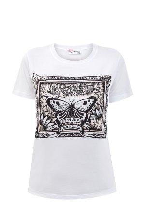 Хлопковая футболка с короткими рукавами и фирменным принтом Butterfly REDVALENTINO. Цвет: белый