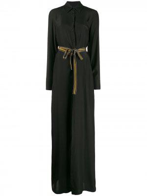 Платье-рубашка макси с поясом на завязке A.F.Vandevorst. Цвет: черный