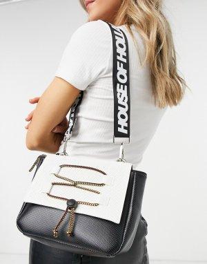 Черная сумка через плечо с отделкой шнурком -Черный цвет House of Holland