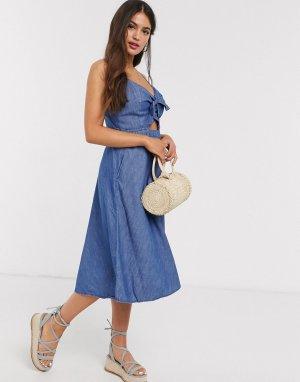 Синее приталенное платье миди на бретельках с завязкой -Синий Abercrombie & Fitch