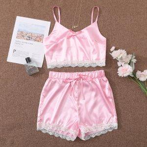 Атласные шорты и майка с кружевной отделкой SHEIN. Цвет: розовые