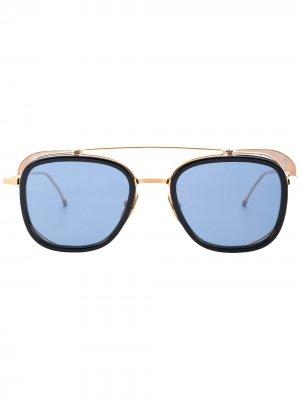 Солнцезащитные очки с двойным мостом в квадратной оправе Thom Browne Eyewear. Цвет: синий