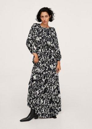 Длинное платье с принтом - Leo-a Mango. Цвет: черный