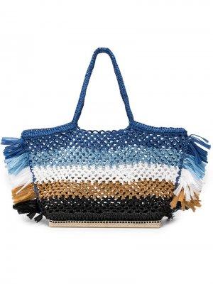 Объемная сумка-тоут Espadrille из рафии Altuzarra. Цвет: синий