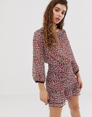 Платье мини с цветочным принтом и сборками Billy BA&SH. Цвет: мульти
