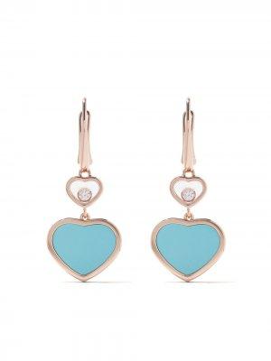 Серьги-подвески Happy Hearts с бриллиантом и бирюзой Chopard. Цвет: розовый