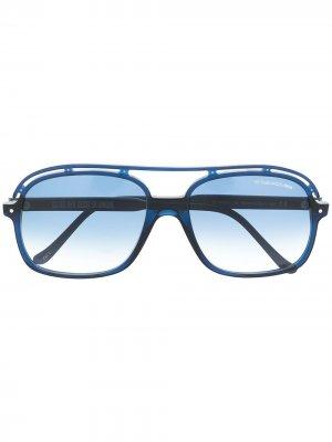 Солнцезащитные очки-авиаторы с вырезами Cutler & Gross. Цвет: синий