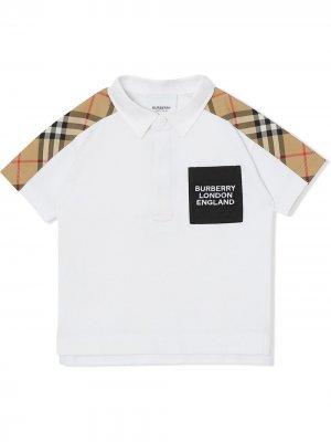 Рубашка поло с отделкой Vintage Check Burberry Kids. Цвет: белый