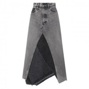 Джинсовая юбка Moussy. Цвет: серый