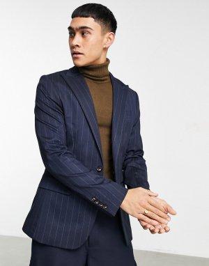 Супероблегающий пиджак в полоску -Темно-синий Devils Advocate