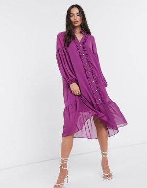 Фиолетовое свободное платье миди с длинными рукавами и оборками -Фиолетовый River Island