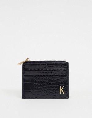 Черный кошелек и кредитница с эффектом крокодиловой кожи буквой К ASOS DESIGN