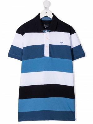 Полосатая рубашка поло Harmont & Blaine Junior. Цвет: синий