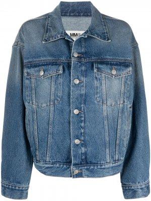 Джинсовая куртка с карманами MM6 Maison Margiela. Цвет: синий