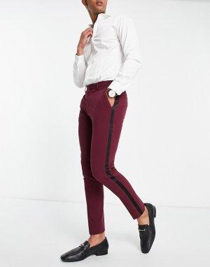Суперзауженные брюки бордового цвета для смокинга -Красный ASOS DESIGN