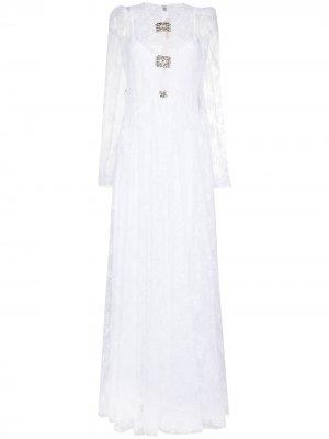 Платье с кристаллами Christopher Kane. Цвет: белый