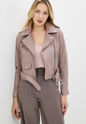 Куртка кожаная Снежная Королева. Цвет: розовый