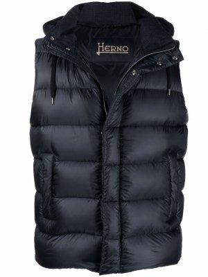 Двусторонний стеганый жилет Herno. Цвет: синий