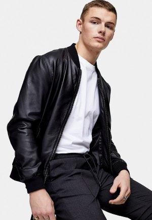 Куртка кожаная Topman. Цвет: черный