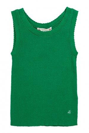 Ребристая зеленая майка Bonpoint. Цвет: зеленый