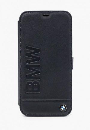 Чехол для iPhone BMW 12 Pro Max (6.7), Signature Genuine leather Logo imprint Navy. Цвет: черный
