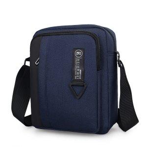 Мужская сумка через плечо на молнии с текстовым рисунком SHEIN. Цвет: синий