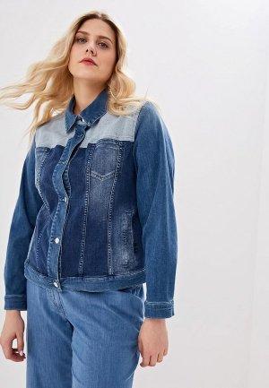 Куртка джинсовая Persona by Marina Rinaldi CANTO. Цвет: синий