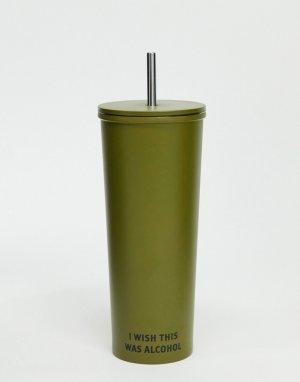 Металлическая зеленая подставка под стакан с трубочкой и надписью I wish this was alcohol Typo-Зеленый TYPO