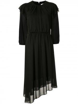 Платье миди Georgette асимметричного кроя CK Calvin Klein. Цвет: черный