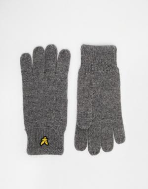 Перчатки в рубчик Lyle & Scott. Цвет: серый