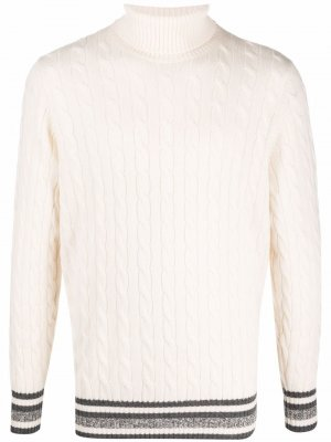 Cable-knit roll neck jumper Brunello Cucinelli. Цвет: белый
