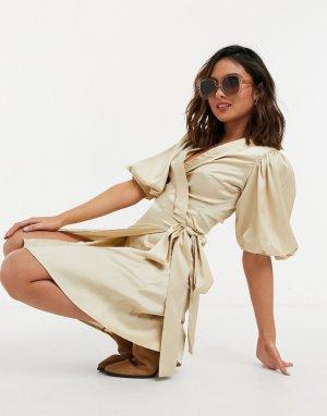 Бежевое короткое платье с пышными рукавами Alinia-Нейтральный Object
