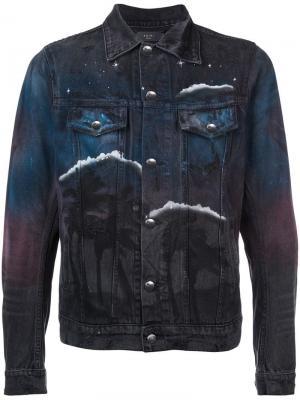 Джинсовая куртка с принтом Amiri. Цвет: черный