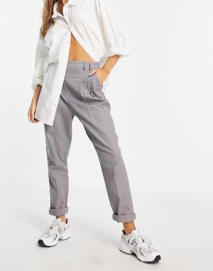 Серые брюки-галифе узкого кроя с завышенной талией из материала добавлением льна -Серый ASOS DESIGN