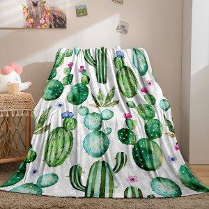Одеяло с принтом кактуса фланелевый SHEIN. Цвет: многоцветный