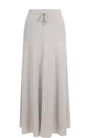 Кашемировая юбка-миди с эластичным поясом Loro Piana. Цвет: светло-серый