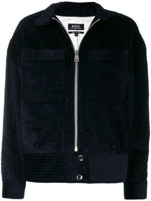 Вельветовая куртка-бомбер A.P.C.. Цвет: синий