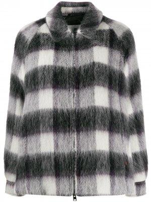 Клетчатая куртка оверсайз Woolrich. Цвет: черный