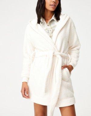 Бежевый халат с капюшоном -Светло-бежевый цвет Cotton:On