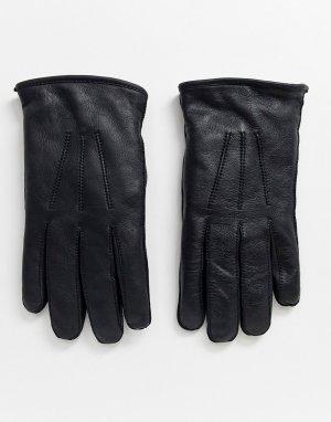 Кожаные перчатки с подкладкой из овечьей шерсти -Черный Bolongaro Trevor